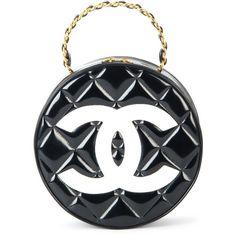 Chanel Vintage Round Vanity Case ($6,937) ❤ liked on Polyvore featuring beauty products, beauty accessories, bags & cases, black and chanel
