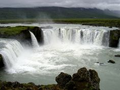 Godafoss waterfall or the waterfall of gods is the most beautiful waterfall of Iceland.