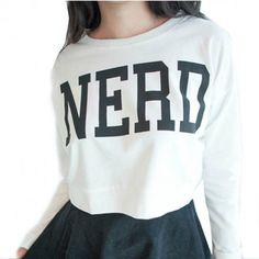 Sueter Cropped Estampa Nerd - Preto/Branco/Azul Suéters e Moletons
