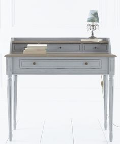 French House Gris Elm writing desk or dressing table, handpainted & distressed in mid grey, fluted legs & aged bronze button knobs with 3 small drawers and one large. Average delivery in 2 weeks.