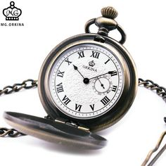 Antique Vintage Men Women Quartz Pocket Watches Full Hunter Sub-dial Roman Numerals Dial with Pendant Chain Brithday's Gift +BOX #Filipinotattoos
