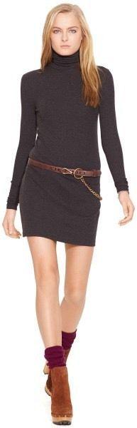 Ralph Lauren Polo RIBBED TURTLENECK DRESS boot black heather (gray) small #LaurenRalph