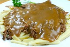 #gravy #marinades #sauces You can see from this picture what a delicious looking dinner this is. The thick, rich gravy and juicy meat is served over noodles and the s...