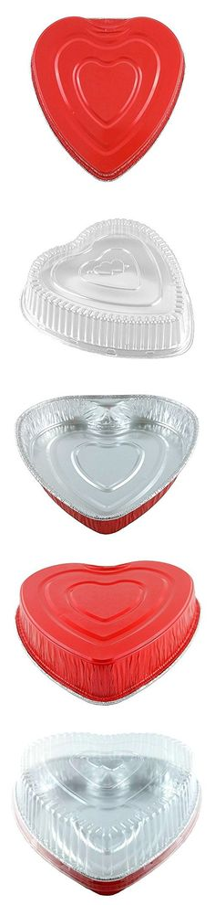 Handi-Foil Red Aluminum Heart Shaped Valentine Foil Cake Pan w/Clear Dome Lid (pack of 10)