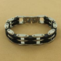 Stainless Steel Black Rubber Link Bracelet  $89.50 #jewelry