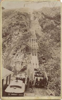 The Great Cable Incline at Rubio Canyon Pavilion, Mount Lowe Railroad, Los Angeles County, CA. early 1900s