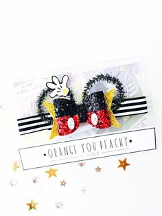 Mickey Bling Bow - Mouse ears hair clip, Mickey glitter bow, Mickey headband, Mickey hand bow, sparkle bow