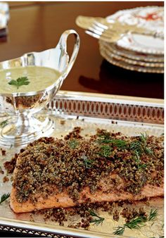 Pecan Crusted Salmon with Sauce Gribiche: pure magic