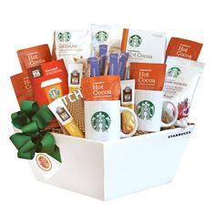 Coffee Gift Baskets - California Delicious Gift Basket, Starbucks Coffee, Cocoa and Chocolate. With a delicious selection of Starbucks coffee varieties, this gift basket has something for everyone on your gift list. Starbucks Gift Baskets, Coffee Gift Baskets, Food Gift Baskets, Coffee Gifts, Salted Caramel Hot Chocolate, Cocoa Chocolate, Organic Chocolate, Chocolate Gifts, Chocolate Basket