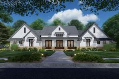 This modern farmhouse plan has perfect symmetry in front and offers you the convenience of one-level living, the privacy of a split bedroom layout and the expansion possibilities of a bonus room with Modern Farmhouse Plans, Farmhouse Homes, Farmhouse Style, Family House Plans, Best House Plans, New Home Plans, Custom Home Plans, Architectural Design House Plans, Architecture Design
