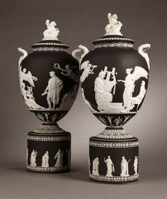 1107: Pr Wedgwood black & white jasperware Pegasus vase : Lot 1107