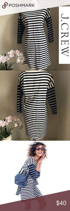 "J. CREW Colorblock Navy White Ponte Stripe Dress🦋 This gorgeous blue and white stripe J. Crew dress is in excellent pre owned condition. This T-shirt style dress has 3/4 length sleeves and stretchy, thick high quality material. This style runs a bit big and measures approx 31"" from neckline to hem. Great style pick for these cooler weather. J. Crew Dresses"