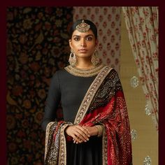 The Heritage Collection for Winter Mehendi and Sangeet. Hand-embroidered silk matka kurta with a bandhani dupatta embellished with badla. Indian Attire, Indian Wear, Indian Dresses, Indian Outfits, Sabyasachi Suits, Bandhani Dress, Sari Dress, Sabyasachi Collection, Rimple And Harpreet Narula