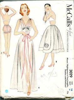 McCalls 3029 1950s Misses Petticoat V Neck