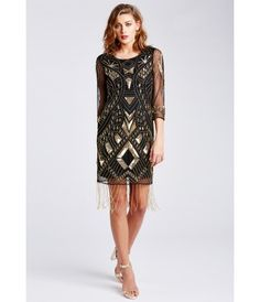 The LBD Clara Flapper Dress in Black and Gold