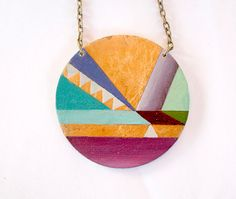 Geometric hand painted pendant Gold by vickygonart on Etsy, $26.00