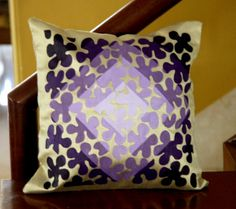 Purple Floral Delight Hand Painted Couch Cushion by KraftNation