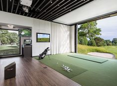 The Best Golf Simulator for your home or business. A complete Indoor Golf Simulator Solution with Putting and Impact Location, works indoor and outdoor. Home Golf Simulator, Indoor Golf Simulator, Loft Design, House Design, Golf Room, Gym Room At Home, Golf Pictures, Golf Simulators, Dream House Plans