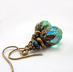 Aqua Beaded Earrings Antiqued Bronze Blue