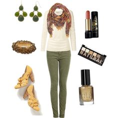 """""""Women's Natural Earth Tones Outfit."""" by jessicaschmidt on Polyvore. scarf has a red under tone which looks great on warmed toned skin"""