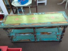 """$179.99 - Custom painted sofa table. Painted, stenciled, distressed and wax finish. This shabby chic table is 54"""" long x 17"""" deep x 27"""" tall.  ***** In Booth C1 at Main Street Antique Mall 7260 E Main St (east of Power RD on MAIN STREET) Mesa Az 85207 **** Open 7 days a week 10:00AM-5:30PM **** Call for more information 480 924 1122 **** We Accept cash, debit, VISA, Mastercard, Discover or American Express"""
