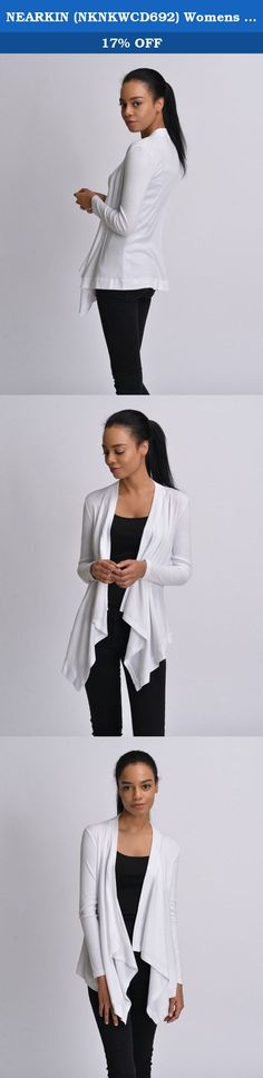 NEARKIN (NKNKWCD692) Womens Lightweight Long Sleeve Open Front Drape Tunic Cardigans WHITE US L(Tag size XL). NEARKIN creates attractive fashion items, satisfactory service, great shopping experiences for our customers in the world. We strives to share high end design and reasonable price with fashion oriented people. NEARKIN leads trend by specializing in clothes and accessories, and also manufactures shirts, jackets, blazers, tshirts, coats, cardigans, sweaters, jeans, chinos, pants…