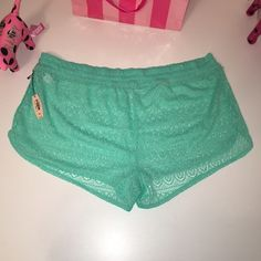"""NEW VS LACE COVER UP SHORTS VICTORIA'S SECRET  LACE COVER UP SHORTS  SIZE M (RUNS BIG) 17"""" WAIST LAYING FLAT, ELASTIC WAIST. COLOR GREEN MINT  RETAIL PRICE $39.50 FAST SHIPPING!!!  Check out my other items!  I am sure you will find something that you will love it! Thank you for watch!!!!! Be sure to add me to your favorites list! Victoria's Secret Swim Coverups"""