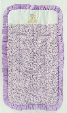 Mamãe Querida: Capa para carrinho lilas bordada ursinha