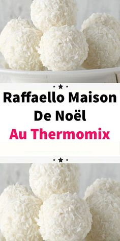 Do you like Raffaello, these gourmet little coconut balls? Learn how to make them yourself with this Recipe Discover the recipe for homemade Raffaello de Ferrero. A simple and easy recipe to make with thermomix. Bite Size Desserts, Apple Desserts, Party Desserts, Summer Desserts, Christmas Desserts, Dessert Recipes, Christmas Cakes, Dessert Dips, Thermomix Desserts