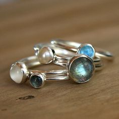Moonlight on Water Stacking Rings Labradorite Blue by KiraFerrer, $106.00