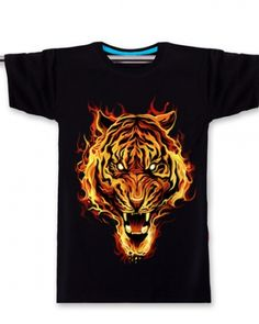 Creative tiger t shirt for men loose style animal plus size tee- Tiger T Shirt, Plus Size T Shirts, Sleeve Designs, Summer Wear, Blue Grey, 3d, Animal, Creative, Clothing