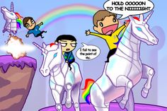 drawing of Kirk, Spock and McCoy playing Robot Unicorn Attack in the holodeck