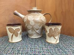 Handmade clay teapot and cups by Beidler Pottery.  The teapot is a very generous size found at Nan Gunnett & Co in Hummelstown, PA.