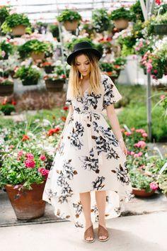 Floral High Low Dress- Cream