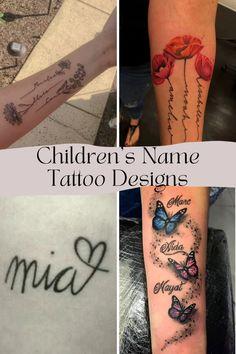 Small Daisy Tattoo, Name Flower Tattoo, Small Flower Tattoos, Small Tattoos, Kid Name Tattoos, Tattoos With Kids Names, Kid Names, New Tattoos, Clock Tattoo Design