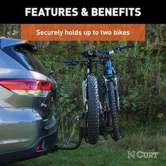 """CURT Tray-Style Hitch-Mounted Bike Rack (2 Bikes, 1-1/4"""" Or 2"""" Shank) / 18085 Trailer Hitch Bike Rack, Hitch Mount Bike Rack, Diy Bike Rack, Bicycle Rack, Tray Styling, Bike Wheel, Kids Bike, Bike Frame, Folded Up"""