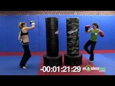 Kickboxing Bag Class - Four Minute Workout - This is my kind of workout. You WILL sweat. You will NOT get bored! :] This is my kind of workout - Kick Boxing, Boxing Workout With Bag, Boxing Workout Routine, Punching Bag Workout, Heavy Bag Workout, Cardio Training, Boxing Training, Kickboxing Moves, Trainer