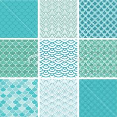 Fish scale seamless pattern set Royalty Free Stock Vector Art Illustration