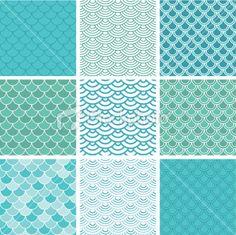 Fish scale seamless pattern set Royalty Free Stock Vector Art Illustration