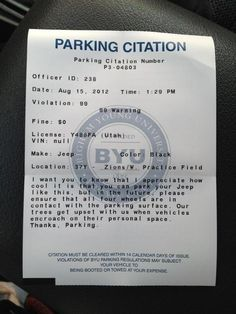 Coolest parking ticket ever, Only with a Jeep
