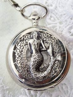 Mermaid pocket watch mens pocket watch with by Charsfavoritethings, $50.00