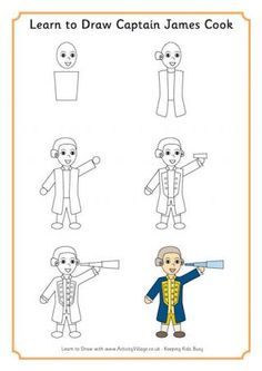 Learn to Draw Captain Cook. Australian History.