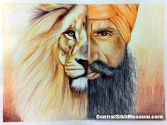 'Singh the Warrior' is a fusion of a Sikh man and Lion. It brings the essence of what it is to be a Singh, a warrior of the jungle, fearless, brave, and free spirited. Punjabi Boys, Punjabi Couple, Guru Gobind Singh, Religious Tattoos, Religious Art, Spiritual Paintings, Dev Ji, World Religions, My Heritage