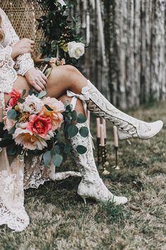Vintage Lace Boots from House of Elliot add a gorgeous romantic touch to this beautiful session! Photo by Courtney Peppercorn Photography Wedding Boudoir, Wedding Attire, Wedding Bride, Wedding Dresses, Wedding Preparation Photos, Lace Knee High Boots, Wedding Boots, Dressing, Thing 1