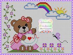 Ursinha bordando Crochet Beanie Pattern, C2c Crochet, Crochet Cross, Baby Blanket Crochet, Crochet Baby, Cross Stitch Patterns, Knitting Patterns, Crochet Patterns, Brother Innovis