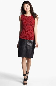 Halogen® Dot Print Side Ruched Top available at #Nordstrom