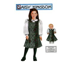 "Girls JUMPER DRESS & BLOUSE Pattern + Matching 18"" Doll Dress Pattern Daisy Kingdom Simplicity 9918  by DesignRewindFashions Vintage & Modern Sewing Patterns on Etsy"