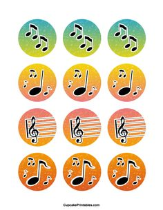 Free printable cupcake toppers in PDF format. Themes include animals, holidays, nature, and more. Music Cupcakes, Music Cookies, Wedding Cakes With Cupcakes, White Wedding Cakes, Wedding Cakes With Flowers, Wedding Cake Toppers, Gold Wedding, Music Note Cake, Music Notes