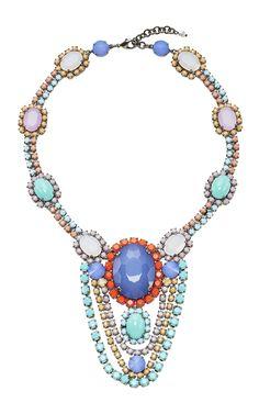Blue Drop Crystal Necklace by SHARRA PAGANO for Preorder on Moda Operandi