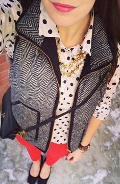 J. Crew vest with dots and red.